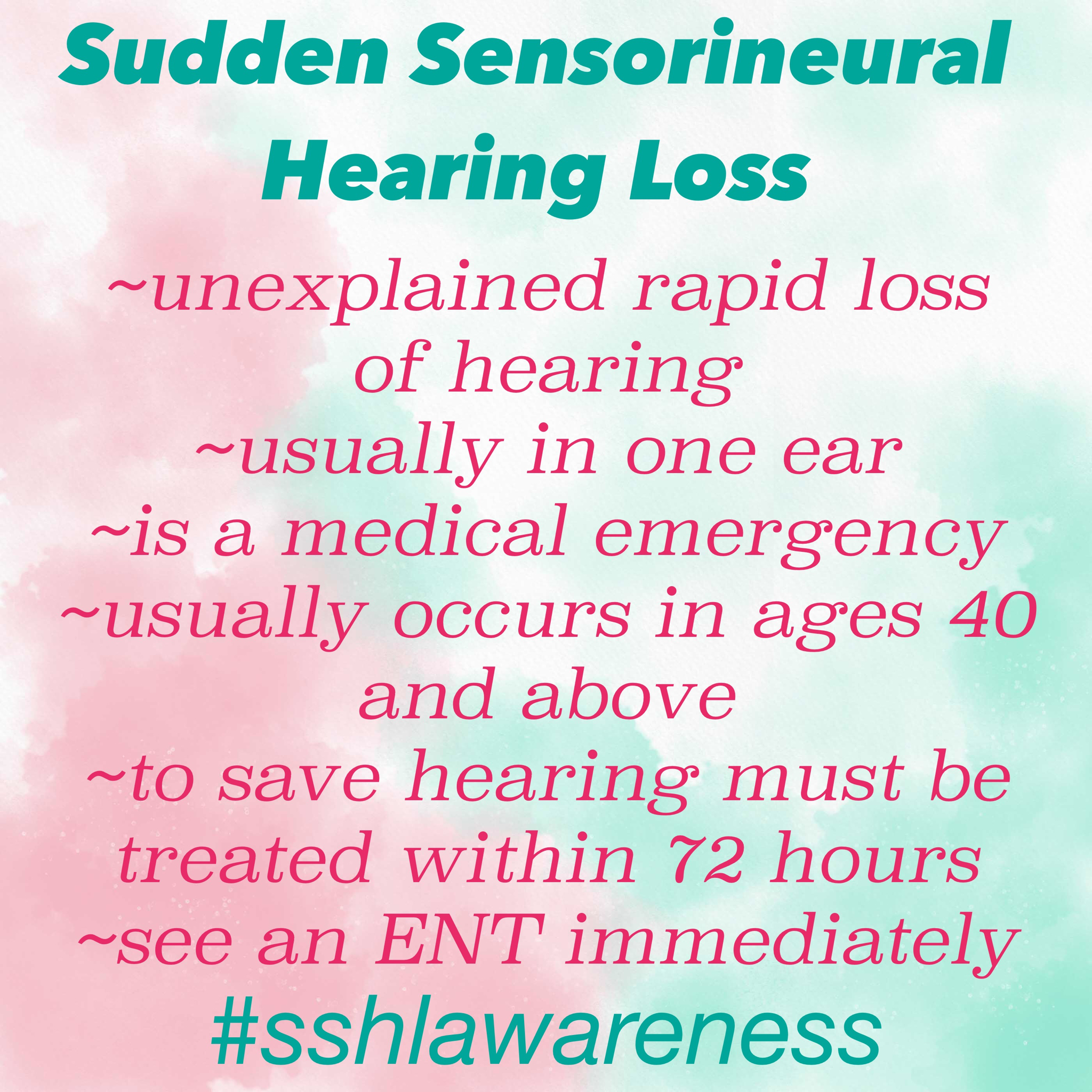 sudden sensorineural hearing loss From nowhere, carly experienced sudden sensorineural hearing loss in her left  ear what happened next is not only for those of us with an.